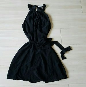 Belted racer back black dress
